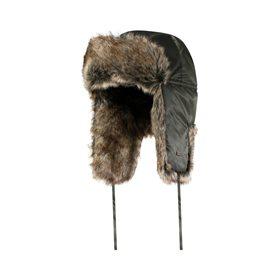 Chapeau noir d'hiver avec fourrure synthétique